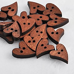 coração recados em forma scraft costura botões de madeira diy (10 peças)