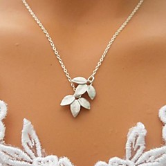 Shixin® Simple (Leaf) Alloy Tiny Pendant Necklace (Silver) (1 Pc)
