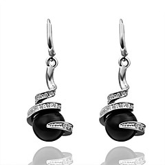 Fashion Pearl-Drop Black Platinum-Plated Drop Earrings(Black)(1Pair)