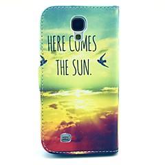 kommt hier Sonne Muster PU-Leder-Standkoffer mit Kartensteckplatz für Samsung Galaxy S4 i9500