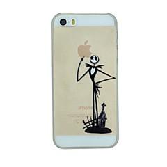o cavalheiro esqueleto apontando para cima padrão pc apple caso tampa traseira duro transparente para iPhone 5 / 5s