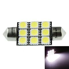 39mm (sv8.5-8) 4.5w 9x5060smd 280-360lm 6500-7500k lumière blanche pour lampe voiture de dôme (dc12-16v / une paire)