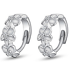 Hoop Earrings Simple Style Fashion Sterling Silver Imitation Diamond Flower Silver Jewelry For Daily Casual 2pcs