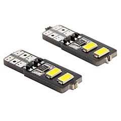 De-coded T10 2W 4-5730 SMD 6000K White Light Universal Car LED Width Reading Bulbs(DC12V 2PCS)