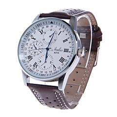 HAIBO 6310-Wのメンズラウンドダイヤルクォーツローマ数字のアナログ腕時計(ブラウン)