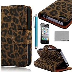 COCO FUN® Black Leopard PU Leather Full Body Case with Screen Protector, Stand and Stylus for iPhone 4/4S