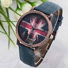 Women's Vintage British Flag Denim Quartz Wrist Watch Cool Watches Unique Watches
