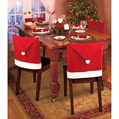 1kpl joulukoristeet santa punainen hattu tuoli takakanteen