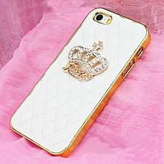 양피 패턴 아이폰 5 / 5S를위한 크라운 모조 다이아몬드와 전신 케이스 (모듬 색상)