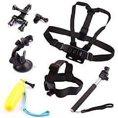 6 em 1 kit cinta + cabeça + aperto + guiador canote + monopé + ventosa flutuante para GoPro Hero 1 2 3 3+