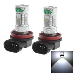 zweihnder h8 30w 2800LM 6000-6500K 6x3535 smd ha condotto la lampadina luce bianca per auto fendinebbia (12-24V, 2 pezzi)