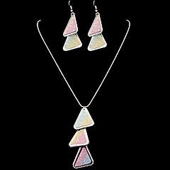 triángulo de la moda aburridas patrón aleatorio de cristal de aleación de sistemas de la joyería de esmalte multicolor (1 juego) (plata, oro)