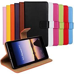στερεό χρώμα γνήσιο δερμάτινο κάλυμμα γεμάτο σώμα με την κάρτα και να σταθεί περίπτωση για P7 huaweiascend (Ποικιλία χρωμάτων)
