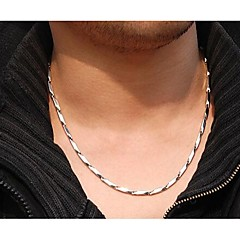 3.0mm*55cm  European Rhombus Titanium Steel Chain Necklace(Silver) (1 Pc) Jewelry
