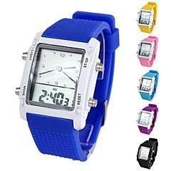 relógio de pulso colorido multifuncional com ligação em forma de quadrado silicone digitais unisex (1pc) (cores sortidas)