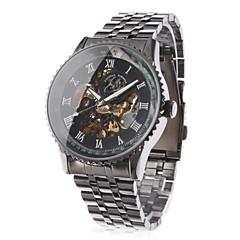 för män ihåliga gravyr stil svart stål auto mekaniska armbandsur
