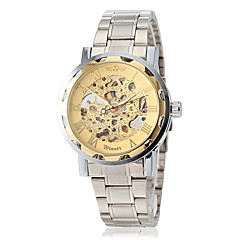 Men's Elegant Skeleton Hollow Gold Dial Steel Band Mechanical Hand Wind Wrist Watch