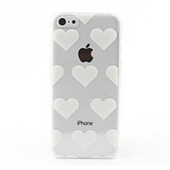 Transparent White Hearts Style Hard Back Case for iPhone 5C