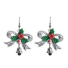 Lureme Fashion Shining Powder Christmas Sliver Bowknot Alloy Drop Earrings