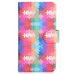 padrão de quebra-cabeça pu coldre de telefone celular com slot para cartão de iPhone 5 / 5s
