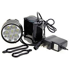 3-Mode 7xCree XM-L T6 LED Senter Sepeda (7000LM, 4x18650, Black)