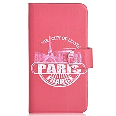 Red Paris Pattern PU Mobile Phone Holster With Card Slot for iPhone 4/4S