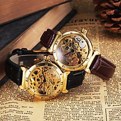 Herren Armbanduhr Mechanische Uhr Transparentes Ziffernblatt Automatikaufzug Leder Band Luxuriös Schwarz Braun