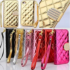 Wallet Style Grid Design Pattern PU Full Body Cover with Stand and Card Slot for iPhone 4/4S  (Assorted Colors)