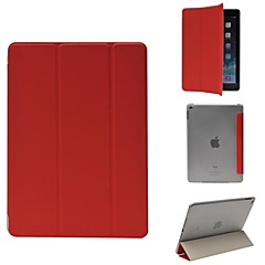 3-folding Leather Case with Transparent Back Cover for iPad Air 2 (Assorted Colors)