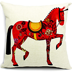 حيا الحصان الأحمر القطن / الكتان غطاء وسادة الزخرفية