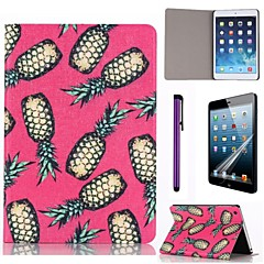 Pink Pineapple Pattern PU Leather Case with Screen Protector and Stylus for iPad mini 3/2/1