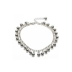 Anklet Ankle Bracelet Link Chain Rhinestone Crystal Bells Metal Silver 250x14mm