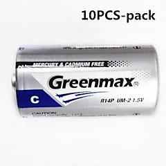 10pcs Greenmax 1.5v R14P tipo c zinco - bateria carbono manganês