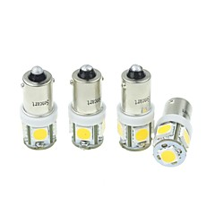 4Pcs BA9S (T4W W6W)2.5W 5X5054SMD 160-180LM 3000-3500K Warm White Light for Car Lndicator (DC12-16V)
