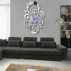 "20""H Modern Style Round Circles 3D DIY Acrylic Mirror Wall Clock"