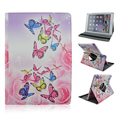 Color Butterfly Rotation Pattern PU Pattern Full Body Cases with Stand for iPad Air 2