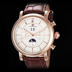 forsining dos homens auto-mecânico seis ponteiros subiu relógio pulseira de couro caso de ouro (cores sortidas)