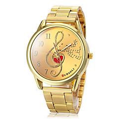 reloj patrón nota musical banda de acero dorado del cuarzo de las mujeres (colores surtidos)