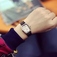 Damen Armbanduhren für den Alltag Quartz Leder Band Schwarz Braun Marke