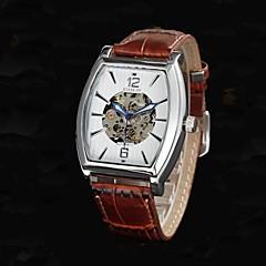 Männer hohlen Gravur Zifferblatt Lederband automatische mechanische Uhr (farbig sortiert)
