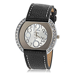 Women's Diamante Case PU Band Quartz Wrist Watch (Assorted Colors)