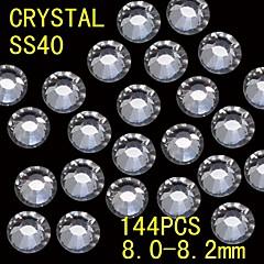 144Pcs 8.0-8.2mm White Color Glitter Flatback Crystal Rhinestone Nail Art Decoration