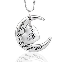jag älskar dig till månen och tillbaka halsbandet för kompisar höga quanlity silver (random silverkedja)