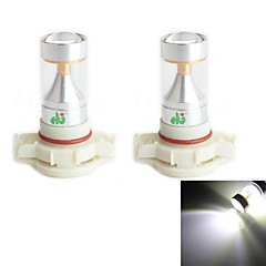 HJ H16 30W 2600LM 6000-6500K 6x2835 SMD LEDs White Light Bulb for Car Fog Light (12-24V,2 Piece)
