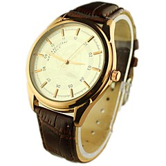 cadran rond PU bande de montre-bracelet à quartz analogique des hommes