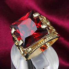 Fashion Golden Red Zircon Statement Ring For Women (1 pc)