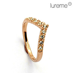 Lureme®V Word Crystal Diamond Love RingImitation Diamond Birthstone