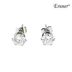 eruner®women's fine silver stud stainess earring with diamond mounted