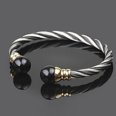 z&X® alta qualidade 2 tom contratada aço de titânio pulseira aberta pulseira masculina