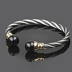 Z&X®  High Quality 2 Tone Contracted Titanium Steel Open Bangle Men's Bracelet